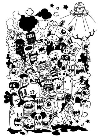 Vector illustration of Doodle cute Monster background ,Hand drawing Doodle Illustration