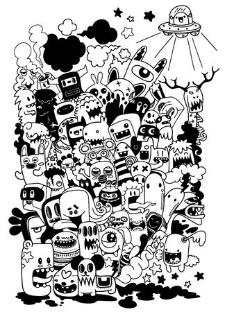 Vector illustration of Doodle cute Monster background ,Hand drawing Doodle Ilustração