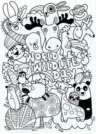 World Wildlife Day. Hand Drawn Vector Illustration of Doodle funny animal. Illustration