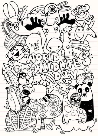 World Wildlife Day ,Hand Drawn Vector Illustration of Doodle funny animal, illustrator. Illustration