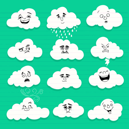 Clouds smile. Set of  hand drawn emoticons or smileys each with a different facial expression and emotion Фото со стока - 100744169