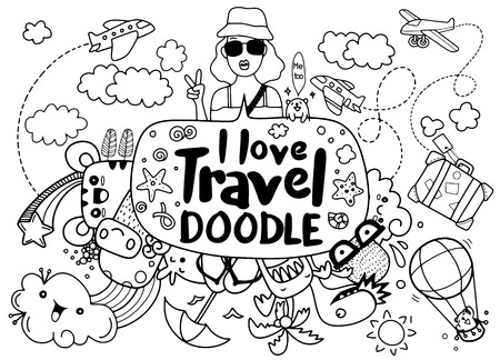 I love travel. Vector illustration of travel doodles sketch icons