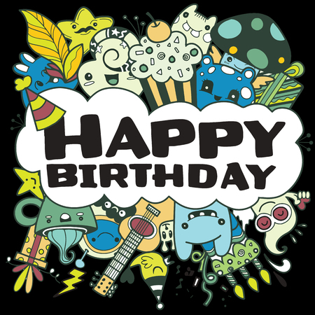 Vector illustration of doodle, handwritten lettering. Happy Birthday greeting card. Monster Doodle for your design. Illustration