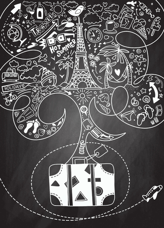 World Travel Set. Hand drawn simple vector sketches collection ,doodle style Illustration