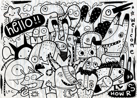 Hipster Hand drawn Crazy doodle Monster City,drawing style.Vector illustration. Stock Illustratie