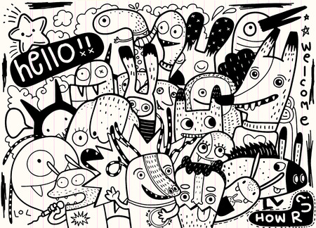 Hipster Hand drawn Crazy doodle Monster City,drawing style.Vector illustration. Иллюстрация