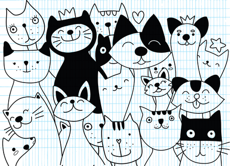 Vector illustration of Doodle cute cat background