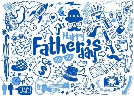 Glückliche Hand gezeichnete Illustration des Vatertags lokalisiert auf Hintergrund mit Text Satz von handgezeichneten Doodle-Zeichnungen. Vektorgrafik