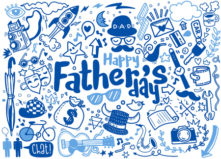 Happy Father's Day hand drawn illustration isolated on background with text. Set of hand drawn doodle drawings.