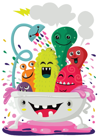 Vector cartoon style illustration of funny monsters taking a bath full of soap foam