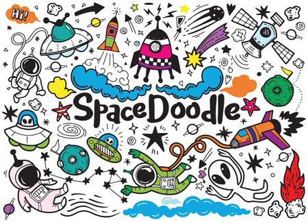 Hand drawn space elements pattern. Space background. Space doodle illustration. Vector illustration Illusztráció