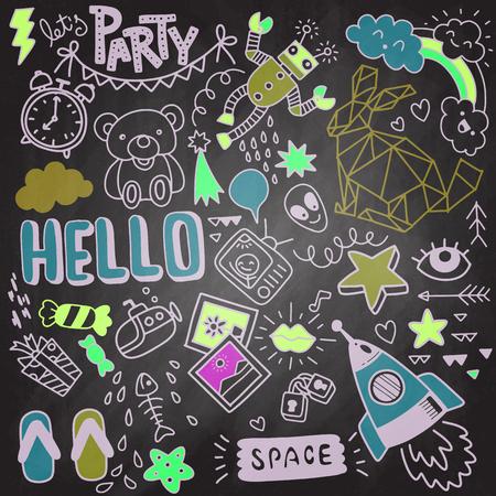 modern hand drawn doodle set, doodle colorful objects funny set Ilustracja