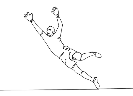 Continuous line drawing. Illustration shows a football ,goalkeeper jumping to catch ball. Soccer. Vector illustration Illustration