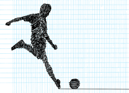 Continuous line drawing. Illustration shows a football player kicks the ball. Soccer. Vector illustration Stok Fotoğraf - 103291460