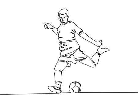 Continu lijntekening. De afbeelding toont een voetballer die de bal trapt. Voetbal. Vector illustratie