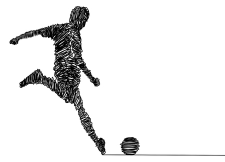 Continuous line drawing. Illustration shows a football player kicks the ball. Soccer. Vector illustration Stok Fotoğraf - 103291462