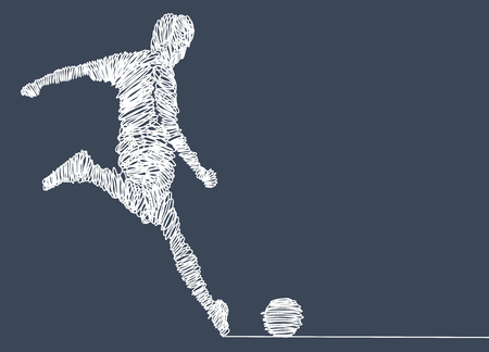 Continuous line drawing. Illustration shows a football player kicks the ball. Soccer. Vector illustration Zdjęcie Seryjne - 103291465