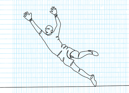 Continuous line drawing. Illustration shows a football ,goalkeeper jumping to catch ball. Soccer. Vector illustration Zdjęcie Seryjne - 103291466