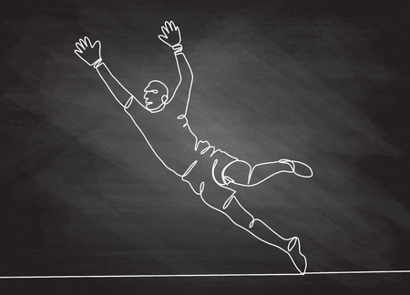 Continuous line drawing. Illustration shows a football ,goalkeeper jumping to catch ball. Soccer. Vector illustration Ilustracja