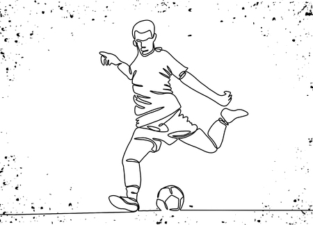 Continuous line drawing. Illustration shows a football player kicks the ball. Soccer. Vector illustration 版權商用圖片 - 103291472