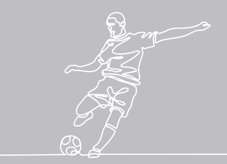 Continuous line drawing. Illustration shows a football player kicks the ball. Soccer. Vector illustration Banque d'images - 103291481
