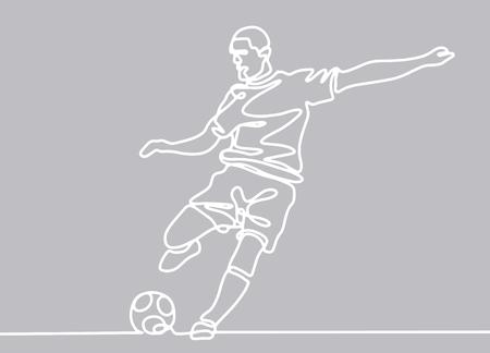 Disegno a tratteggio continuo. L'illustrazione mostra un calciatore che dà dei calci alla palla. Calcio. Illustrazione vettoriale