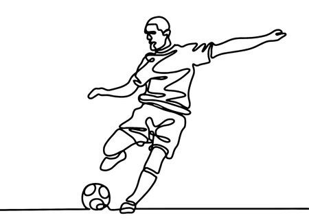 Continuous line drawing. Illustration shows a football player kicks the ball. Soccer. Vector illustration Banque d'images - 103291482