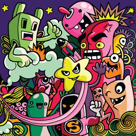 Vector illustration of Monsters and cute alien friendly, cool, cute hand-drawn monsters collection Vector EPS 10 illustration.  イラスト・ベクター素材