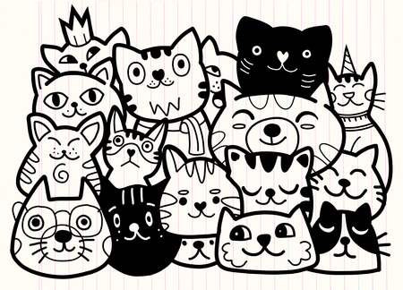 doodle cats group,Different species of cats, Vector Illustration Banque d'images - 103377864