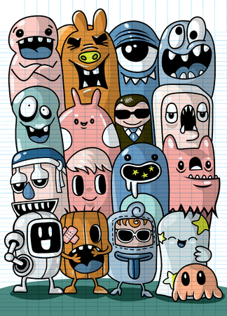 Vector illustration of Monsters and cute alien friendly, cool, cute hand-drawn monsters collection Vector EPS 10 illustration. Banque d'images - 103377871