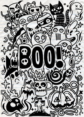 vector hand drawn Doodle cartoon set of objects and symbols on the Halloween theme