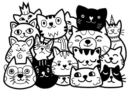 doodle cats group,Different species of cats, Vector Illustration Иллюстрация