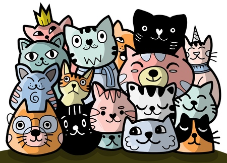 doodle cats group,Different species of cats, Vector Illustration Ilustrace