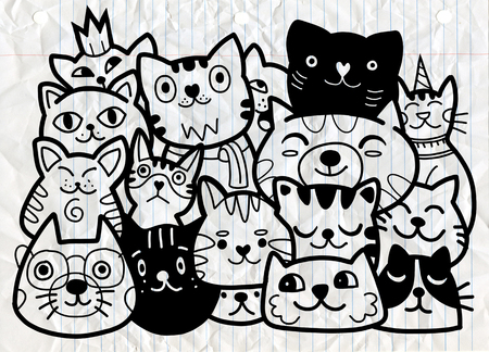 doodle cats group,Different species of cats, Vector Illustration Banque d'images - 103377902