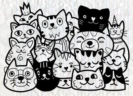 doodle cats group,Different species of cats, Vector Illustration Иллюстрация