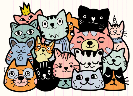 doodle cats group,Different species of cats, Vector Illustration 일러스트