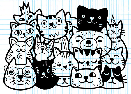 doodle cats group,Different species of cats, Vector Illustration Banque d'images - 103377899