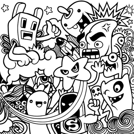 Vector illustration of Monsters and cute alien friendly, cool, cute hand-drawn monsters collection Vector EPS 10 illustration. 向量圖像