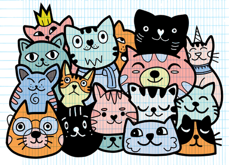 doodle cats group,Different species of cats, Vector Illustration  イラスト・ベクター素材