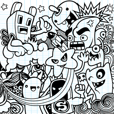 Vector illustration of Monsters and cute alien friendly, cool, cute hand-drawn monsters collection Vector EPS 10 illustration. Illustration