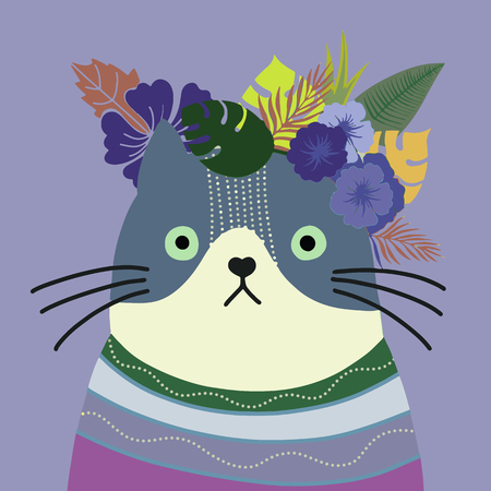 Cat with a floral crown made out of different flowers,Vector illustration Çizim