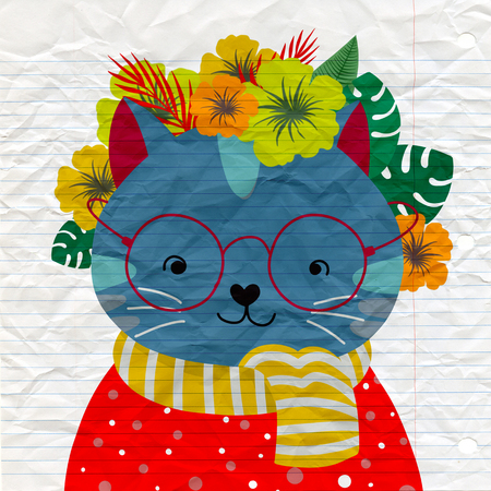 Cat with a floral crown made out of different flowers,Vector illustration Иллюстрация