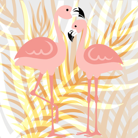 Hello Summer banner.Happy summer Day.Fashionable styling. flamingo and left  vector. Imagens - 103724262