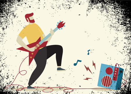 Young man with beard , Punk rock star with guitar and amplifie. Indie rock guitarist in flat cartoon style.