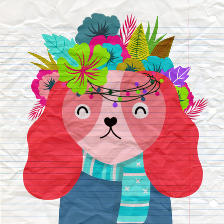 Dog with a floral crown made out of different flowers,Vector illustration Stock Illustratie