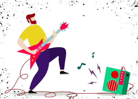 Young man with beard , Punk rock star with guitar and amplifie. Indie rock guitarist in flat cartoon style. Stock Vector - 103822827