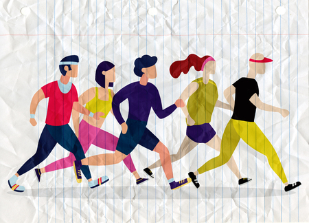 Jogging people. Runners group in motion. Running men and women sports background. People runner race, training to marathon, jogging and running illustration Çizim