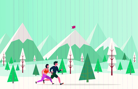 Running Man and Woman. Jogging Couple,Couple running with winter background vector illustration