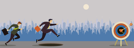 two business man. competitive. Reach the target. Businessman running to the target. Concept business vector illustration