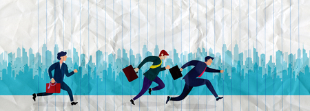 Business People Group Run to success running in the city street .Team Leader Competition Win Concept Flat Vector Illustration Banque d'images - 104303022
